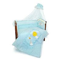 Комплект для кроватки Золотой гусь Веселые Овечки 7 предметов голубой