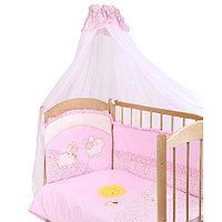 Комплект для кроватки Золотой гусь Веселые Овечки 7 предметов розовый