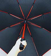 Зонт-трость черный MIRACLE с красной тростью (полу-автомат), 120см., фото 1