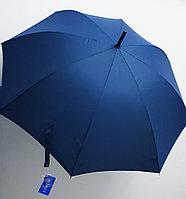 Зонт-трость синий, ручка крючком., фото 1