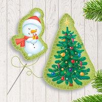 Новогодняя брошь из фетра 'Снеговик и ёлочка'