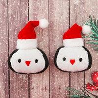 Декор для творчества - мягкая игрушка 'Пингвин в шапочке' размер 1 шт 6,5x5,8x2 см, набор 2 шт.