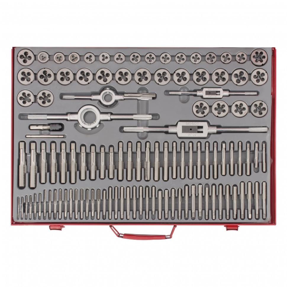 Набор метчиков и плашек м2-м18, 110шт. металл.кейс матрикс арт.773110