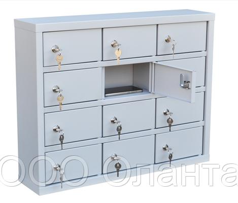 Шкаф металлический для мобильных телефонов 12 ячеек (650х150х510) арт. СОТЕЛ 12