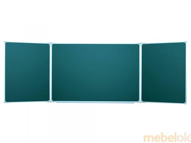 Доска магнитная меловая зеленая школьная трехсекционная 100х400 см. 3-х элементная