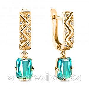 Серебряные серьги   Aquamarine 4716188