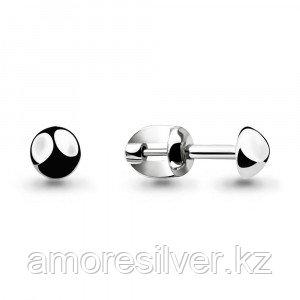 Серьги Aquamarine серебро с родием, круг 33483