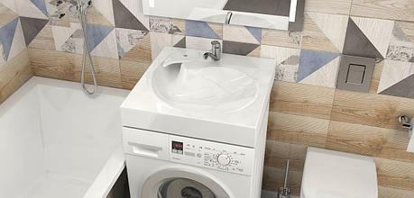 Раковина над стиральной машиной Лилия V60 (600 х 600 х 130 мм.). Мрамор., фото 2