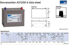 Аккумулятор Sonnenschein A512/55 A (12В, 55Ач), фото 2
