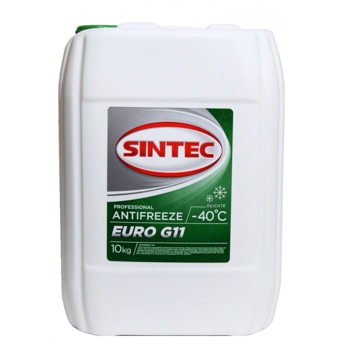 Российский Антифриз SINTEC EURO G11 -45*С зеленый 10kg.