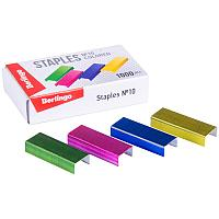 Скобы для степлера №10 Berlingo, цветные, 1000шт. SH705