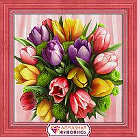 """Картина стразами на холсте """"Букет тюльпанов"""" , 40*40см"""