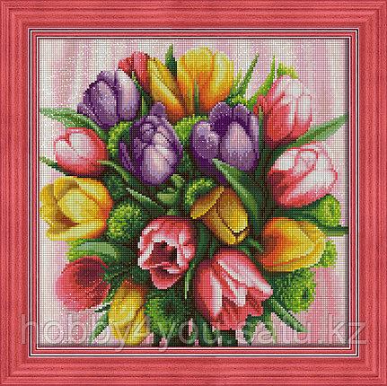 """Картина стразами на холсте """"Букет тюльпанов"""" , 40*40см, фото 2"""