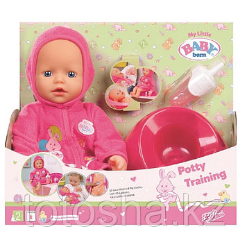 Zapf Creation Baby born 823-460 Кукла-пупс быстросохнущая с горшком и бутылочкой, 32 см