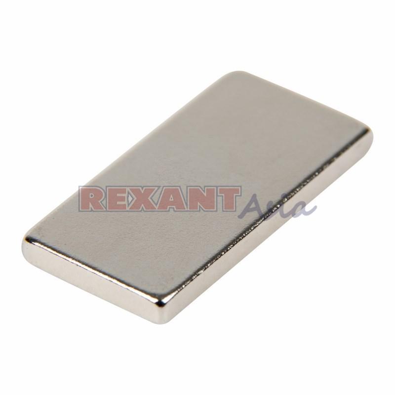 Неодимовый магнит прямоугольник 20х10х2мм  сцепление 2,4 кг (упаковка 5 шт) Rexant, (72-3404 )