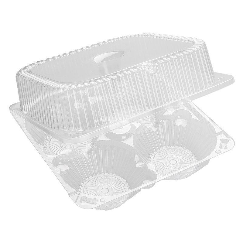 Упаковка квадрат внеш. 186х186х81мм, внутр. 4 секции d-85верх d-58низ мм на 4 пирожных, прозрачная, ОПС, 380
