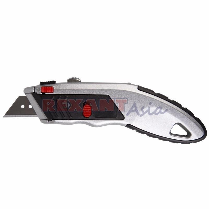 Нож с трапециевидным лезвием Профи, мгновенно заменяемое лезвие REXANT, (12-4953 )
