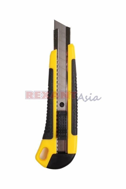 Нож с сегментированным лезвием 18 мм, корпус ABS пластик обрезиненный REXANT, (12-4901 )