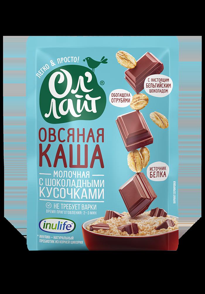 """Овсяная молочная каша быстрого приготовления """"Ол Лайт"""" с шоколадными кусочками, 40г"""