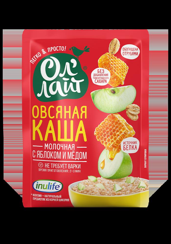 """Овсяная молочная каша быстрого приготовления """"Ол Лайт"""" с яблоком и медом, 40г"""