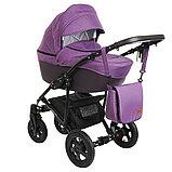Коляска 2 в 1 Pituso Confort Фиолетовый+Кожа Тёмно-фиолетовый Рама Чёрная, фото 2