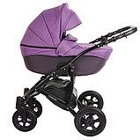 Коляска 2 в 1 Pituso Confort Фиолетовый+Кожа Тёмно-фиолетовый Рама Чёрная, фото 3