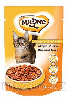 """Влажный корм с курицей в соусе для взрослых кошек """"Мнямс"""""""
