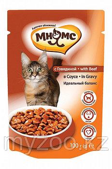 """Влажный корм с говядиной в соусе для взрослых кошек """"Мнямс"""""""