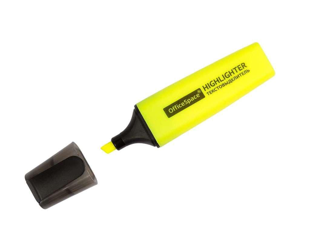 Текстовыделитель OfficeSpace 1-5 мм, желтый