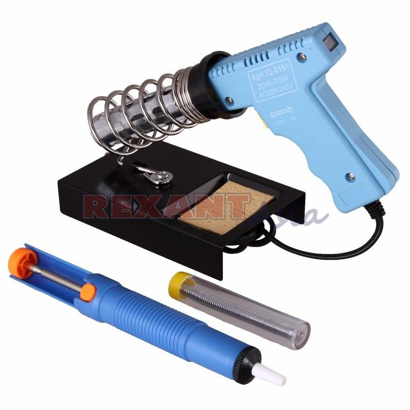Набор для пайки REXANT (паяльник импульсный 30/70 Вт, оловоотсос, подставка, припой), (12-0164 )