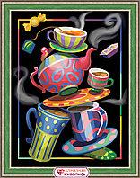 "Картина стразами на холсте ""Чайная фантазия"", 30*40см"