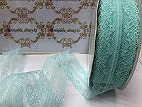 Кружевная лента-гипюр ,ментолового цвета, 40 мм