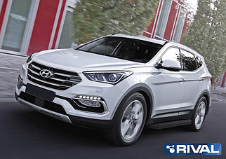"Порог-площадка ""Premium-Black"", RIVAL для Hyundai Santa Fe 2012-2018"