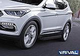 """Порог-площадка """"Premium-Black"""", RIVAL для Hyundai Santa Fe 2012-2018, фото 2"""