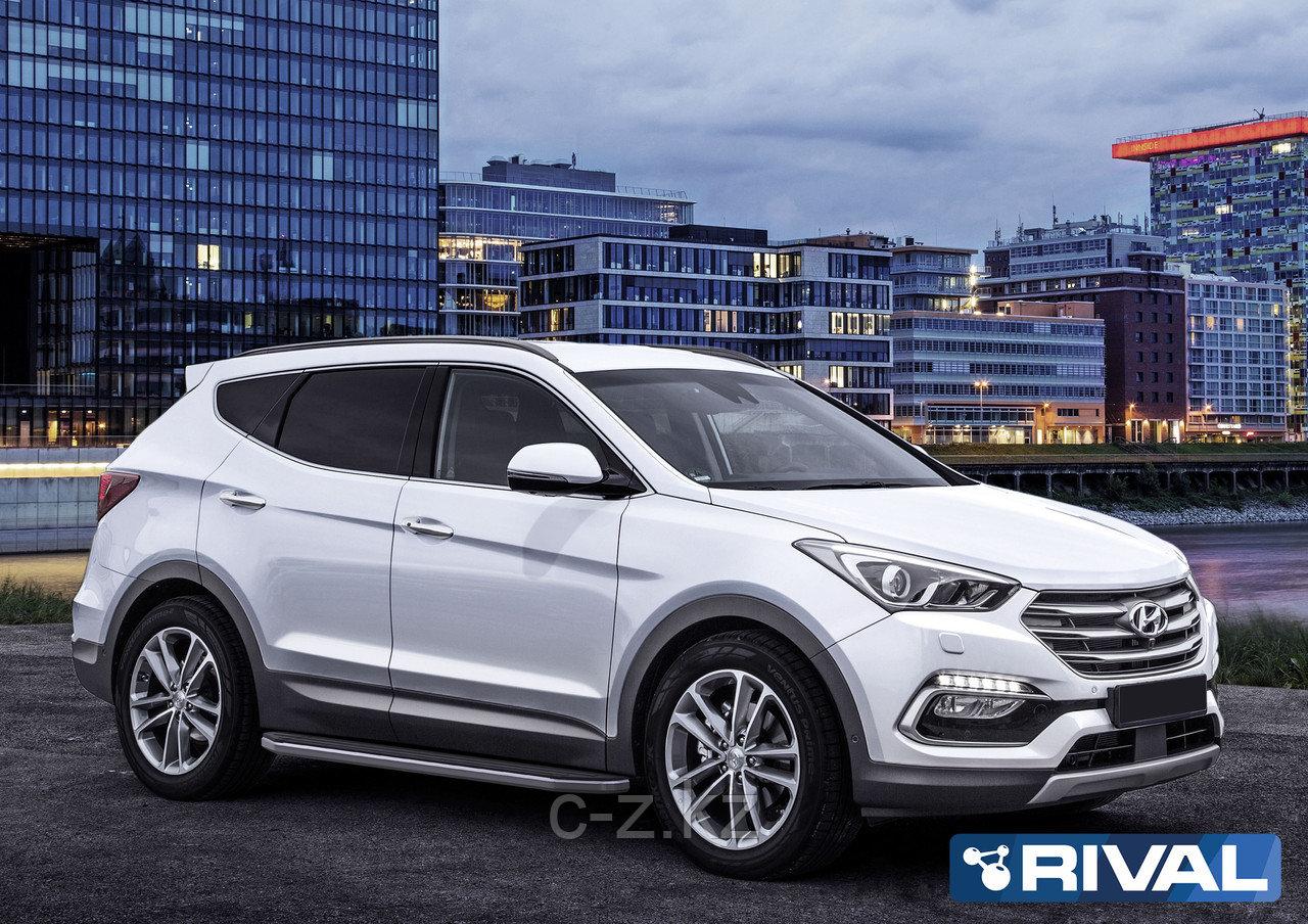 "Порог-площадка ""Premium"", RIVAL для Hyundai Santa Fe 2012-2018"