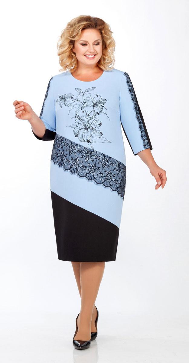 Платье Теллура-Л-1455/1, голубой, 52