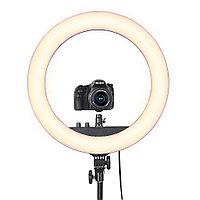 Селфи лампа, кольцевая на подставке с креплением для фотоаппата и зеркалом, 44 см