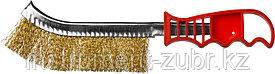 Щетка ручная с пластмассовой ручкой, однорядная, витая стальная латунированная проволока 0,3 мм, MIRAX 35112-1