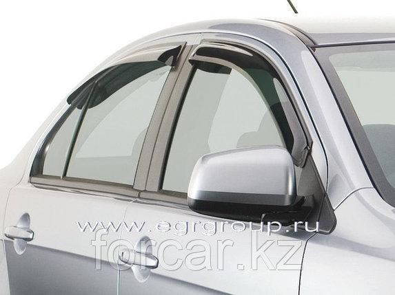 Дефлекторы боковых окон 4 части темные, карбон Mitsubishi Lancer 2007, фото 2