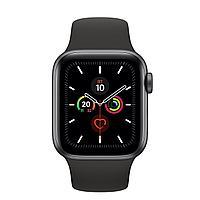 Apple Watch Series 5, GPS, корпус 44 мм, алюминий цвета «серый космос», спортивный ремешок чёрного цвета,, фото 1