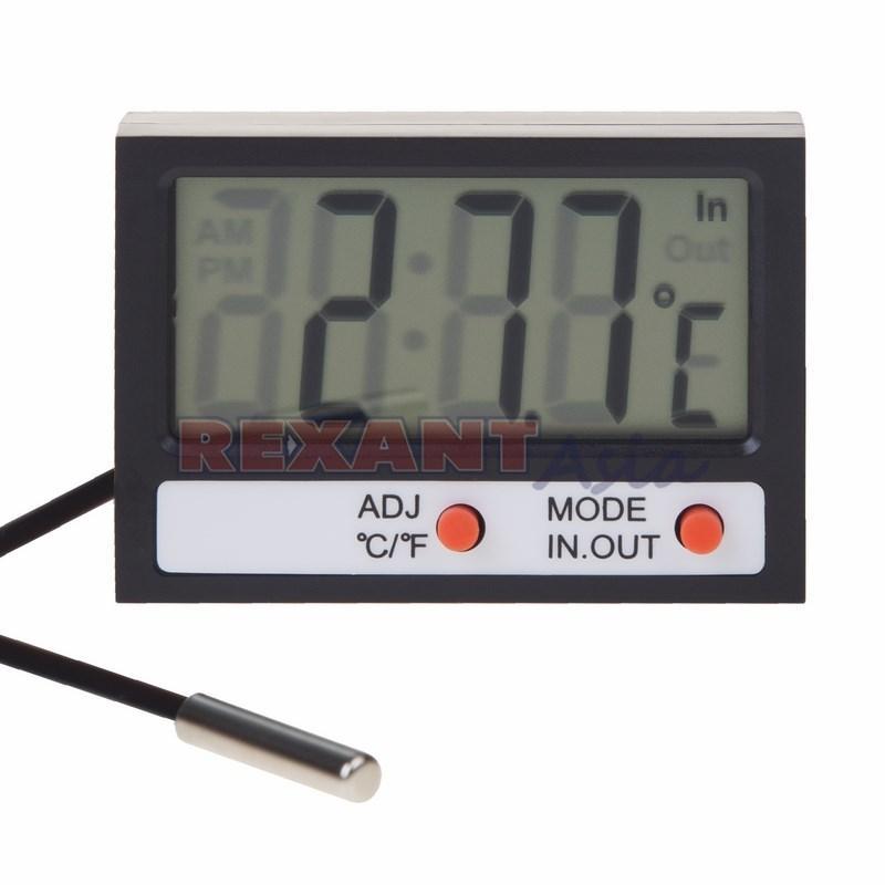 Термометр электронный комнатно-уличный с часами REXANT, (70-0505 )