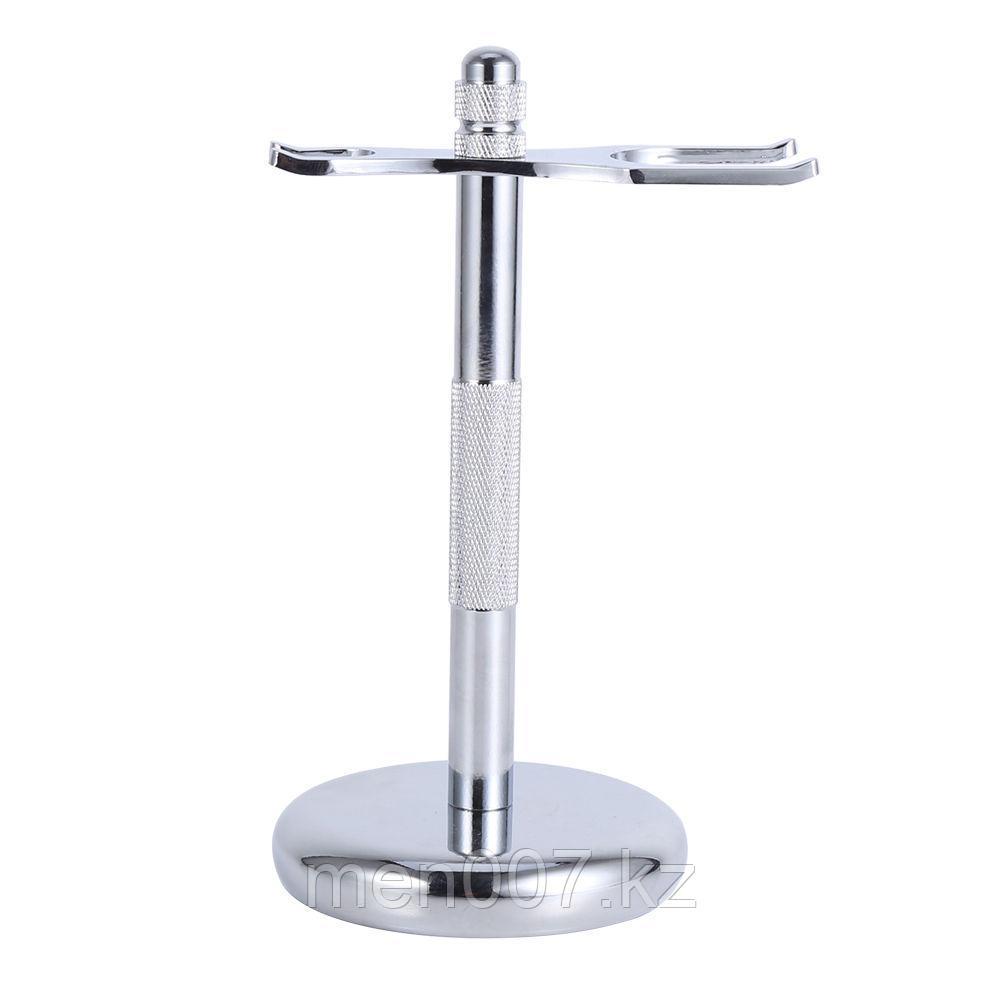 Подставка (стойка) для бритвы и помазка серебристая