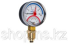 Термоманометр Экомера МД04-63 мм 0..10бар 0..120С G1/4 с перех. на G1/2