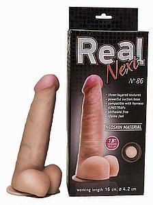 """Фаллоимитатор """"REAL NEXT"""" № 86, на присоске, L 21.0 см, D 4.0 - 4.2 см, киберкожа"""