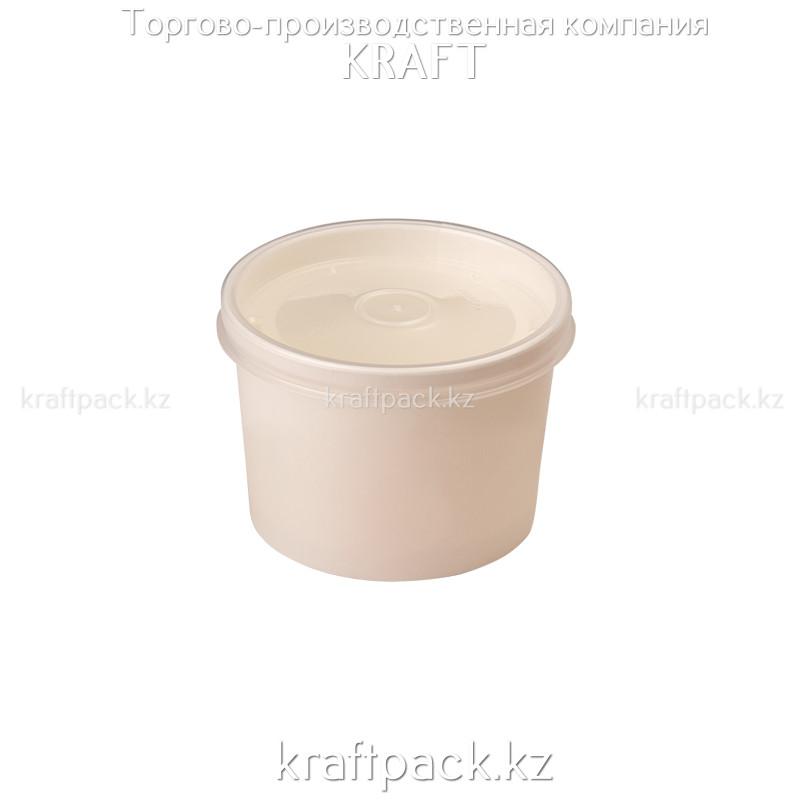 Упаковка для супов,каш,мороженного Белая с пластиковой крышкой 230мл (Eco Soup Econom 8W) DoEco (25/250)