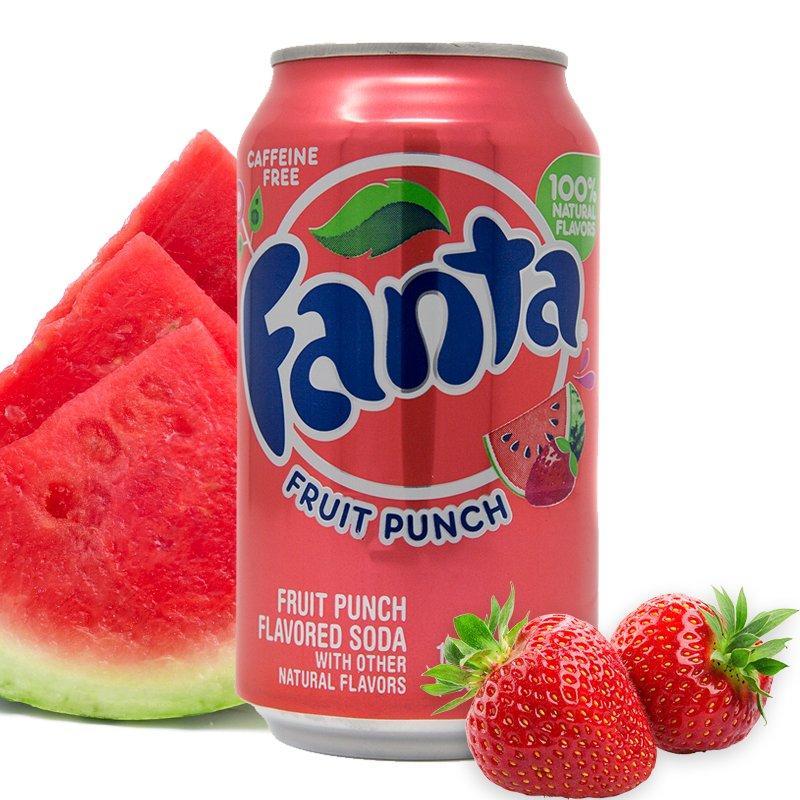 Fanta Fruit Punch Фруктовый Пунш Клубника-Арбуз  355ml США (12шт-упак)