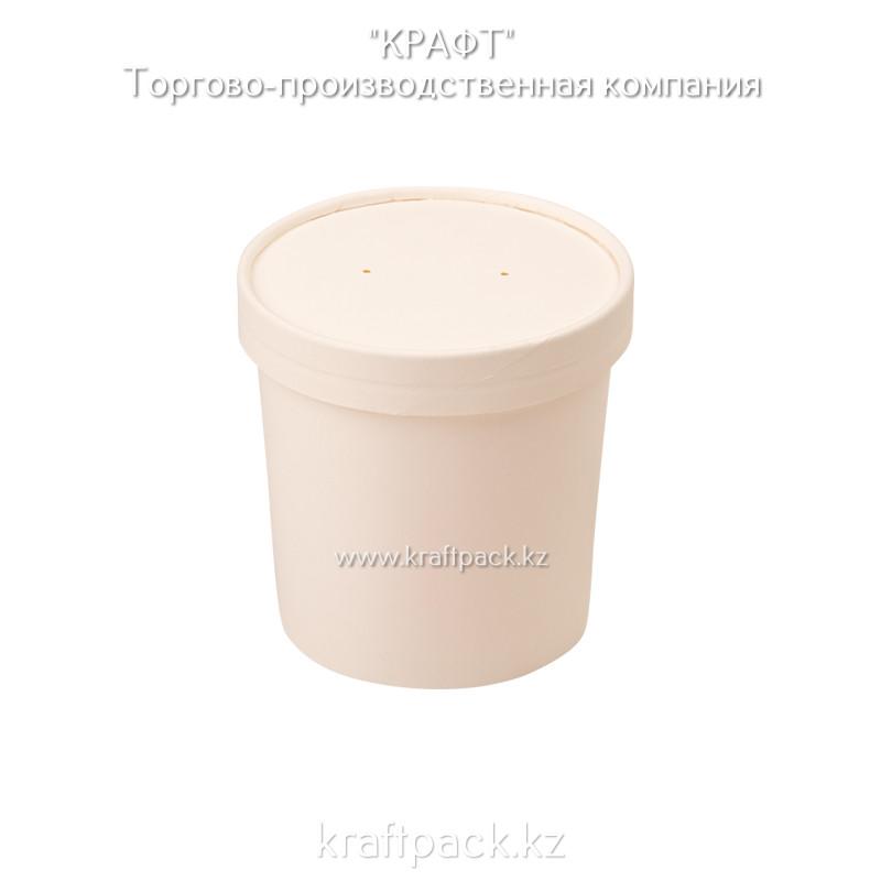 Упаковка для супов,каш,мороженного БЕЛАЯ с картонной крышкой 340мл (Eco Soup 12W) DoEco (25/250)