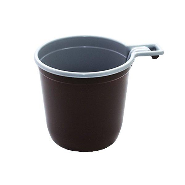 Чашка д/хол./гор., 0.18л, коричн./бел., ПП, 12 шт