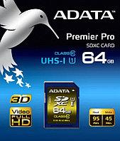 Карта памяти SDXC 64Gb, ADATA Premier Pro, ASDX64GUI1CL10-R, UHS-I, Class 10, Read 95Mb/s, Write 45Mb/s