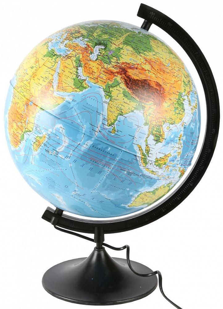 Глобус физико политический рельефный  диаметр 32 см с подсветкой от батареек